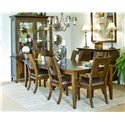 Morris Home Furnishings Edinburgh <b>Special Order</b> Square Back Dining Room Arm Chair with Upholstered Seat - Shown with Dining Room Table, Dining Room Side Chairs, China Cabinet &amp; Sideboard