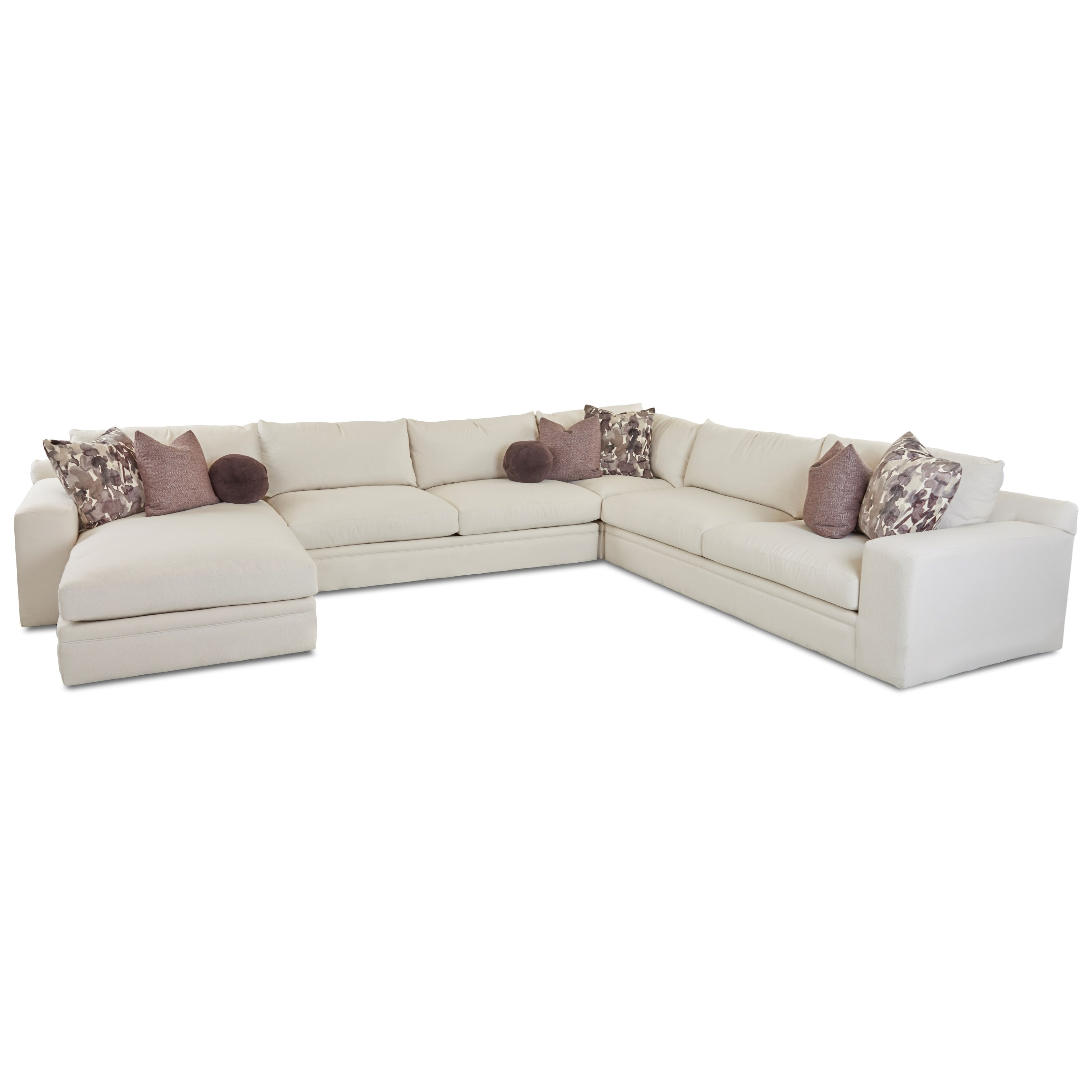 Casa Mesa Casual Four Piece Sectional Sofa with LAF Chaise by Klaussner at  Northeast Factory Direct