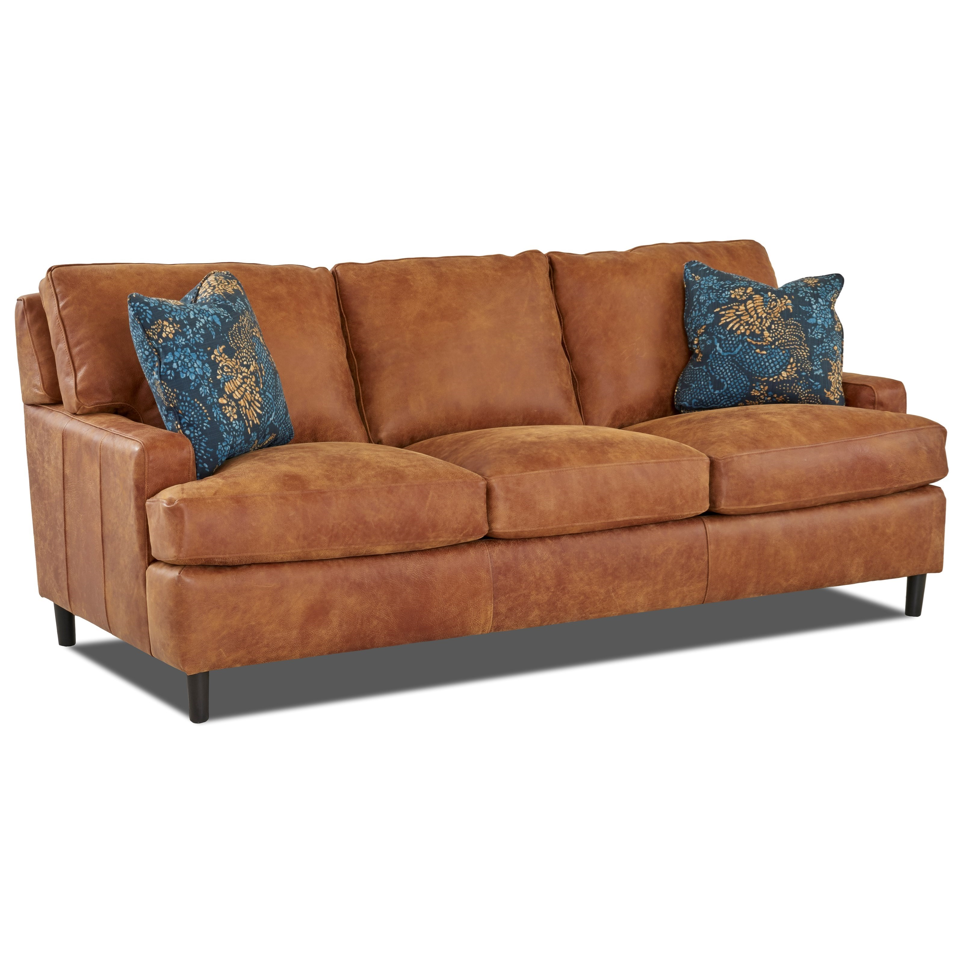 Cassio Contemporary Leather Sofa with Arm Pillows by Klaussner at Wayside  Furniture