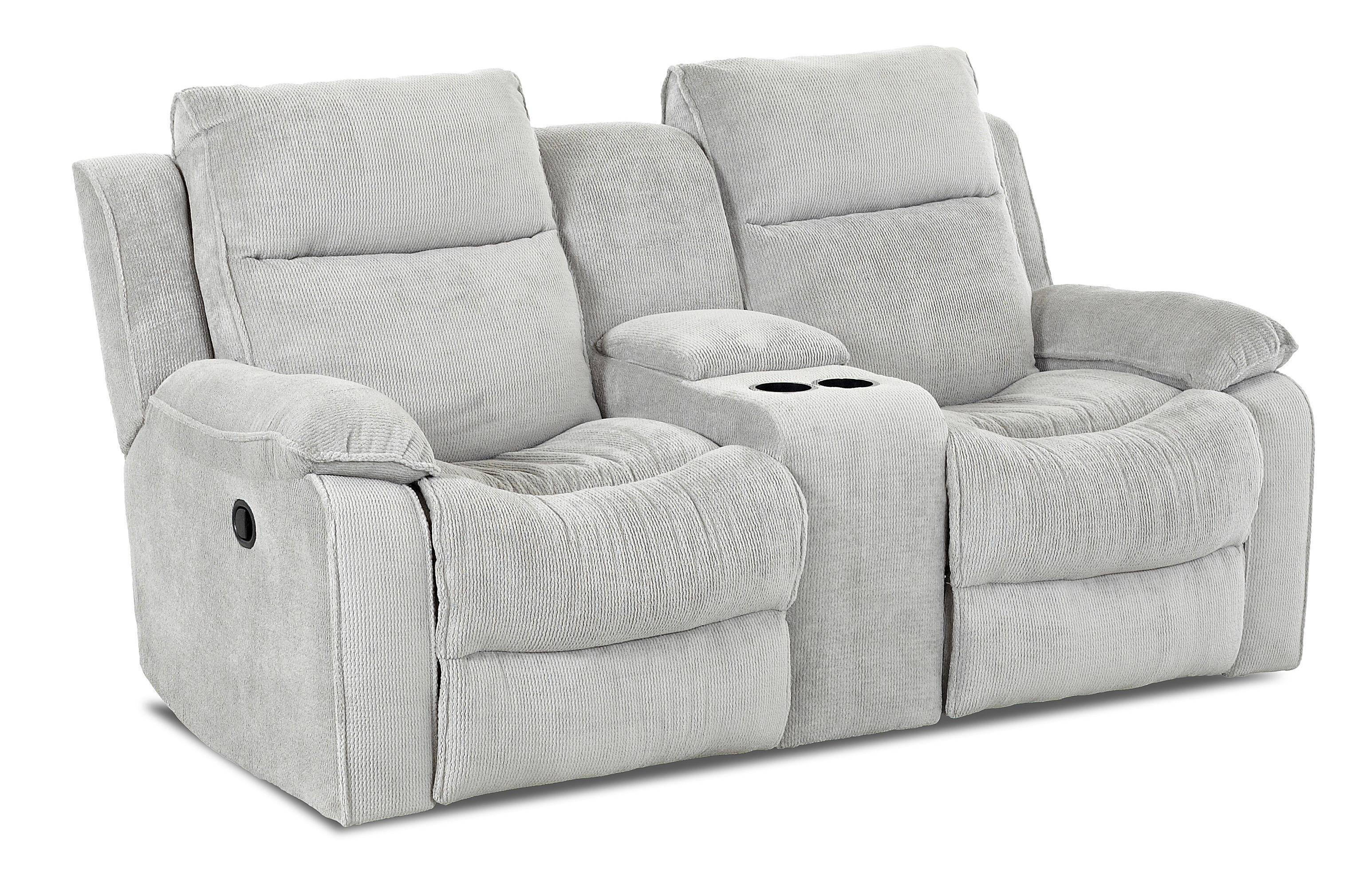 Castaway casual power reclining loveseat with console by klaussner wolf furniture Reclining loveseat with center console