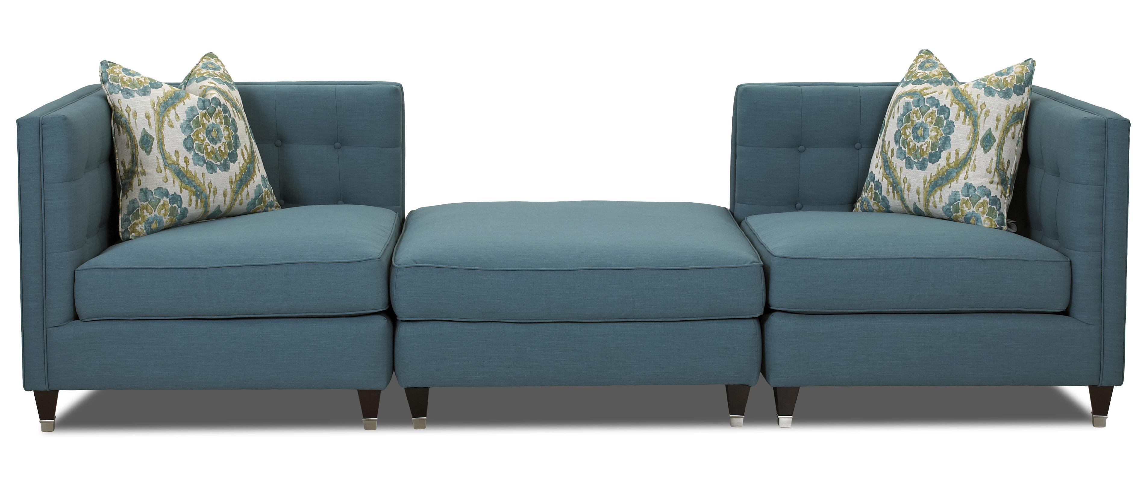 Klaussner Celeste Contemporary Three Piece Sectional Sofa - Item Number: D73800 CORN+OTTO+CORNER