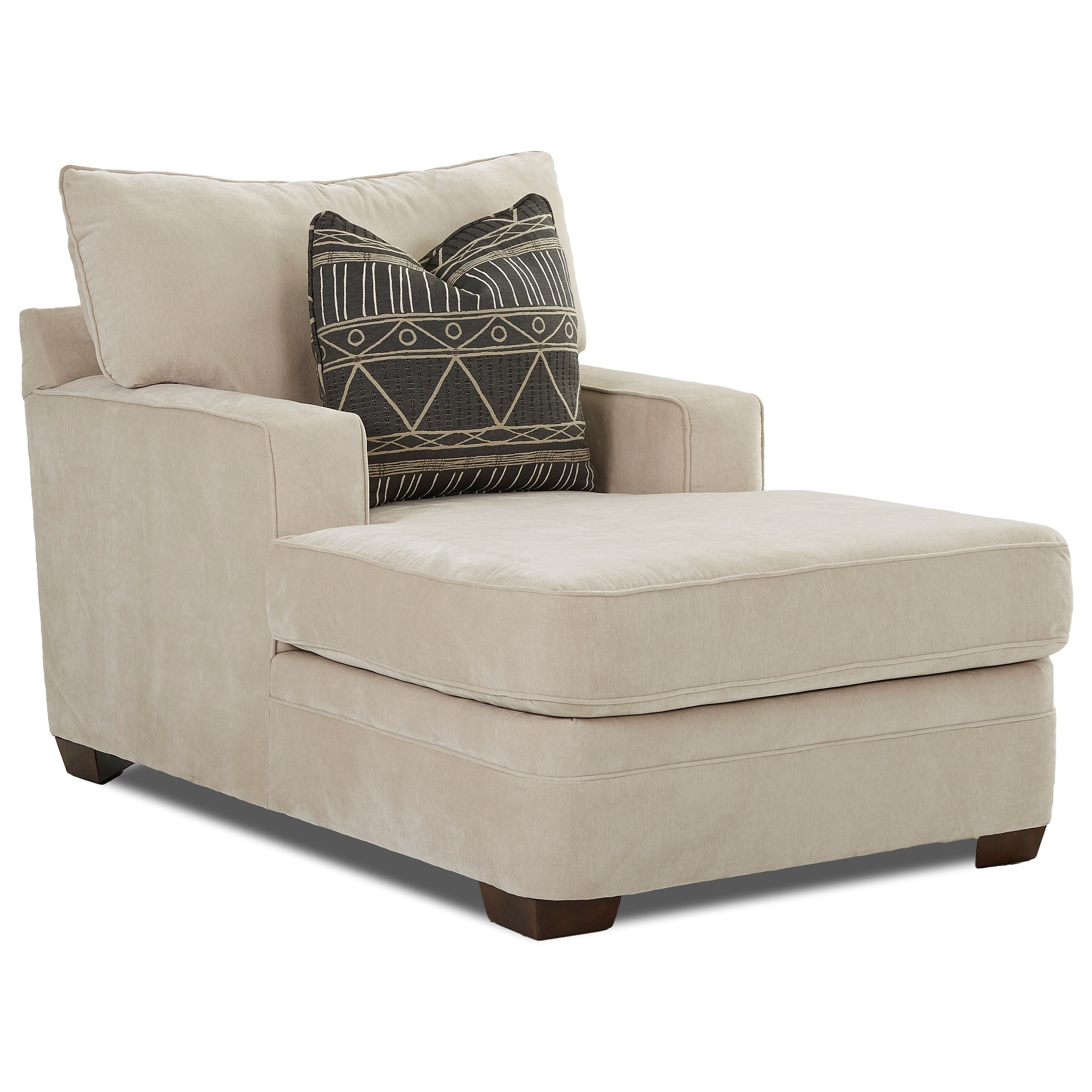 chaise living room furniture klaussner chadwick casual chaise lounge with square track 15404