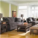 Klaussner Charleston Chaise Lounge with 2 Accent Pillows - Shown with coordinating sofa
