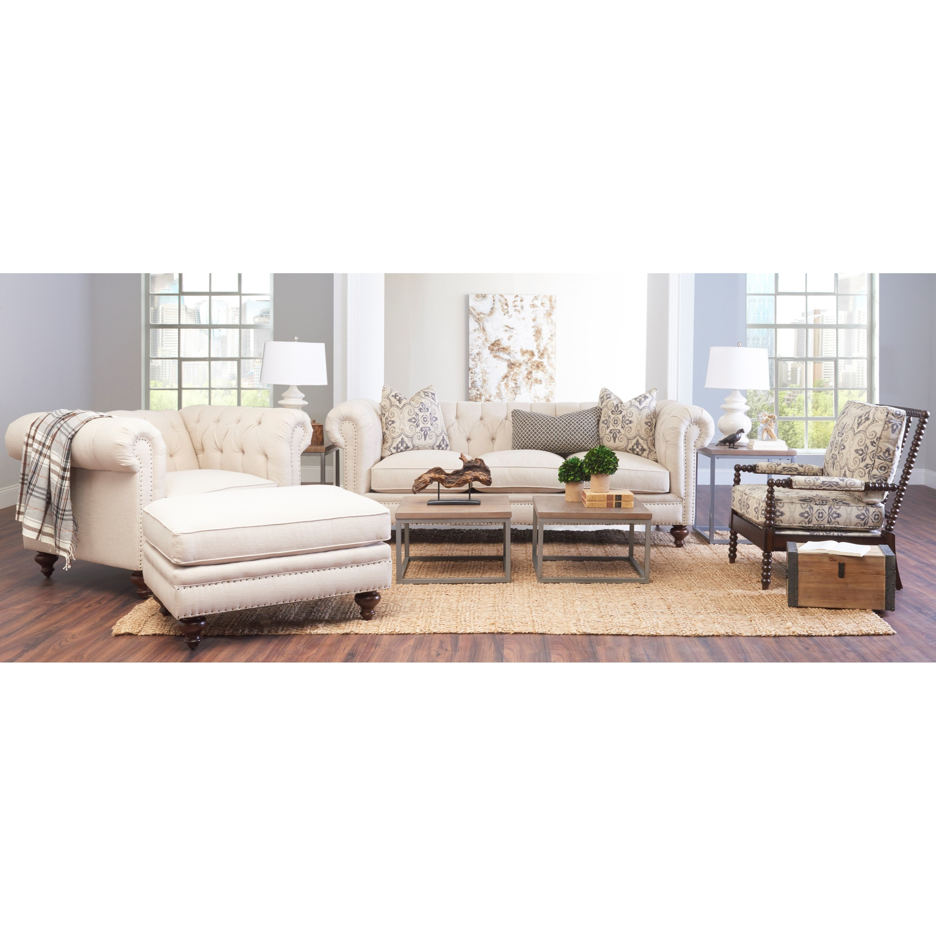 Klaussner Charlotte Ottoman With Nails Sheely S