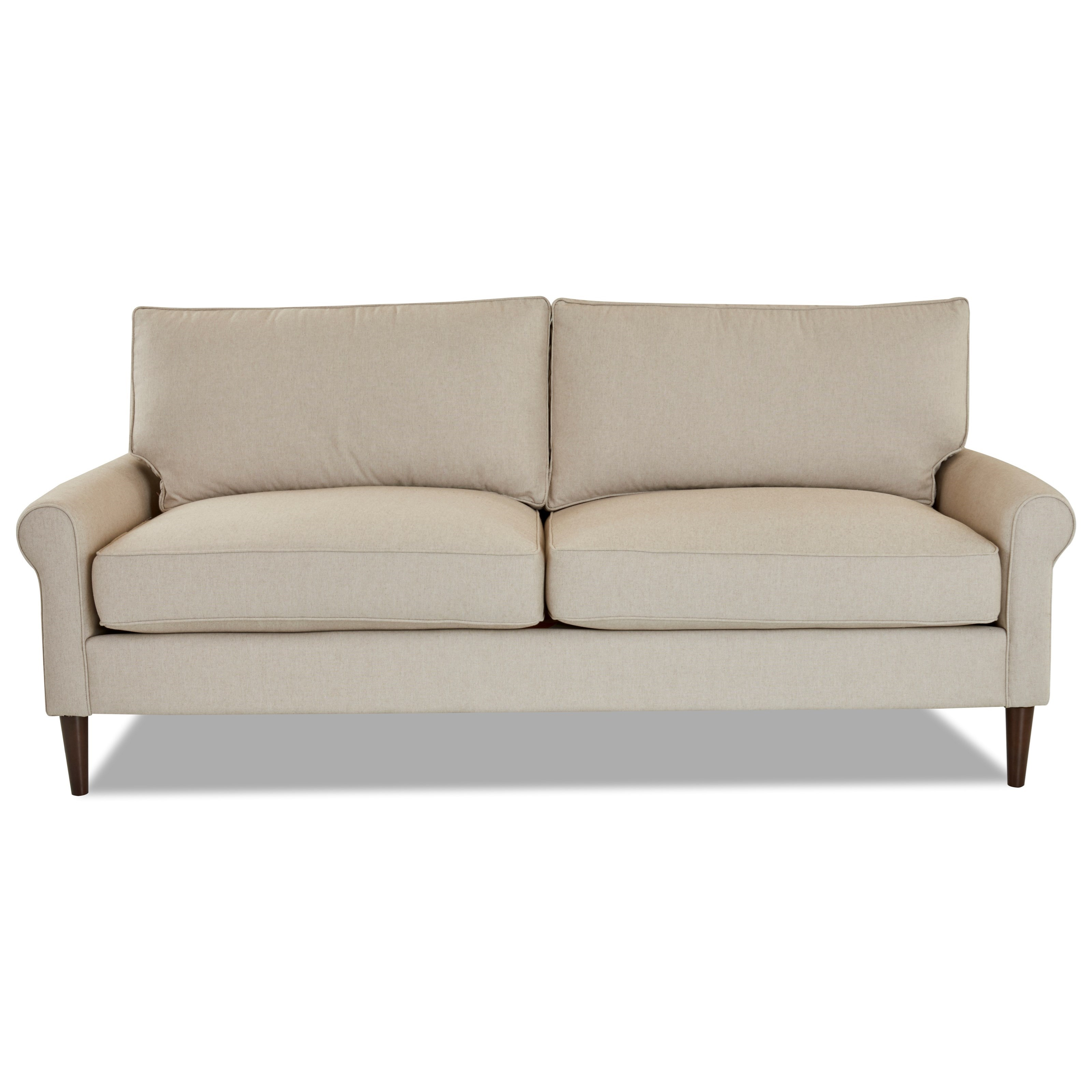 Chelsea 2 over 2 Sofa with Round Tapered Legs by Klaussner at Northeast Factory Direct