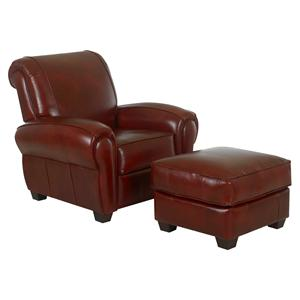 Klaussner Cigar Upholstered Chair and Ottoman