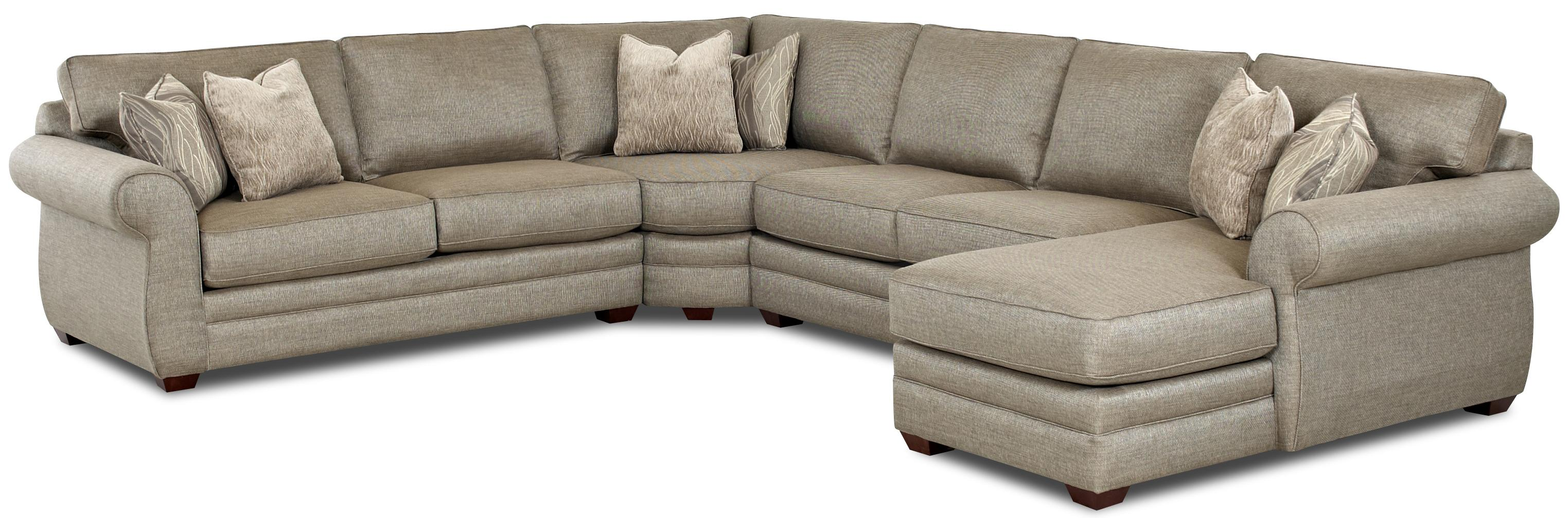 Klaussner clanton transitional sectional sofa with right chaise and full sleeper olinde 39 s Loveseat chaise sectional