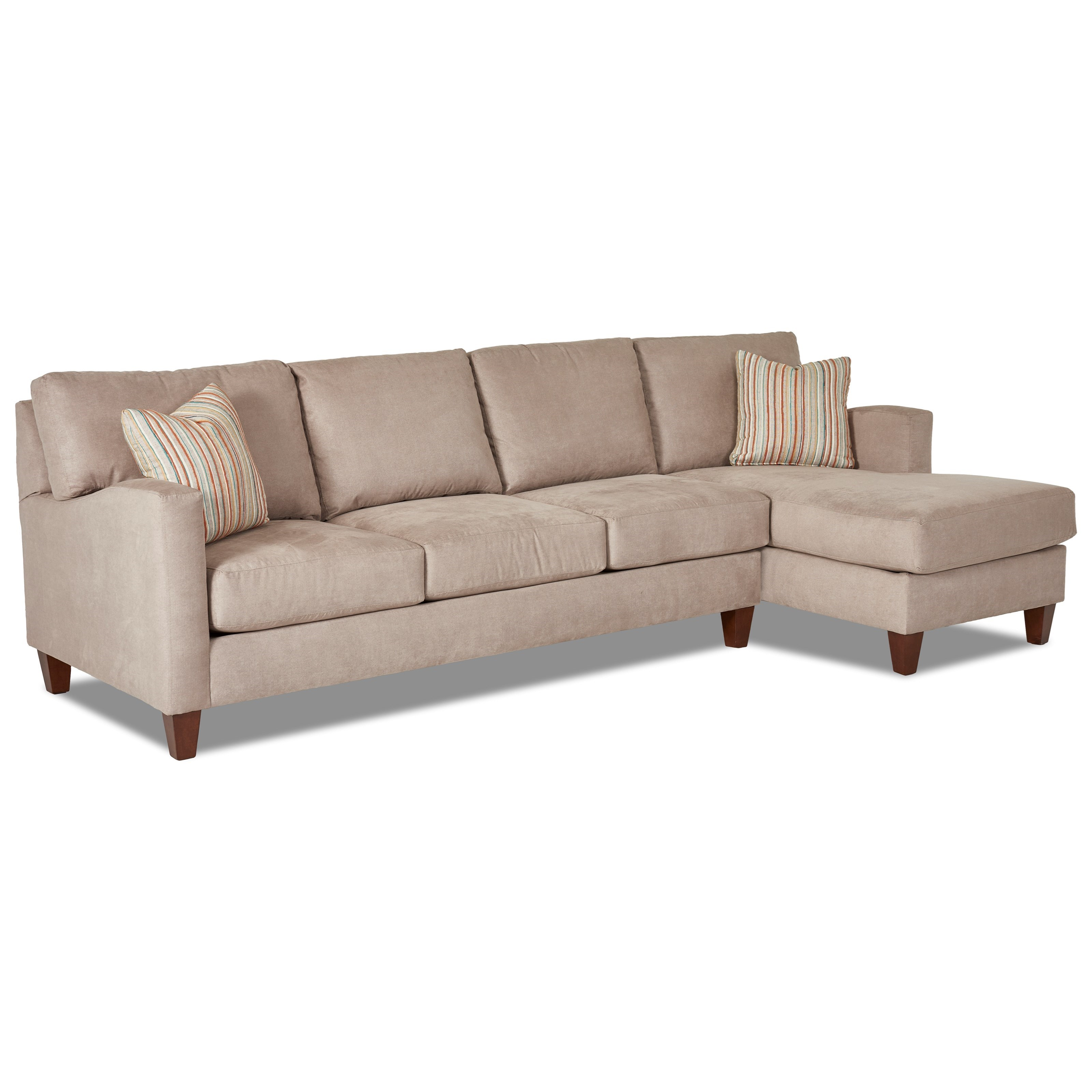 Klaussner Colleen 2 Pc Stationary Sectional w/ RAF Chaise - Item Number: K19300L S+K19300R CHASE