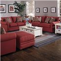 Klaussner Comfy Casual Rectangular Ottoman - 36300OTTO - Shown With Chair, Loveseat, and Sofa