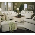 Klaussner Comfy Casual Rectangular Ottoman - 36300OTTO - Shown With Sofa, Loveseat, and Chair