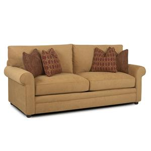 Casual Stationary Sofa with Rolled Arms, Unattached Back and Welt Detail