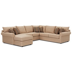 Klaussner Comfy Sectional Sofa w/ LAF Chaise