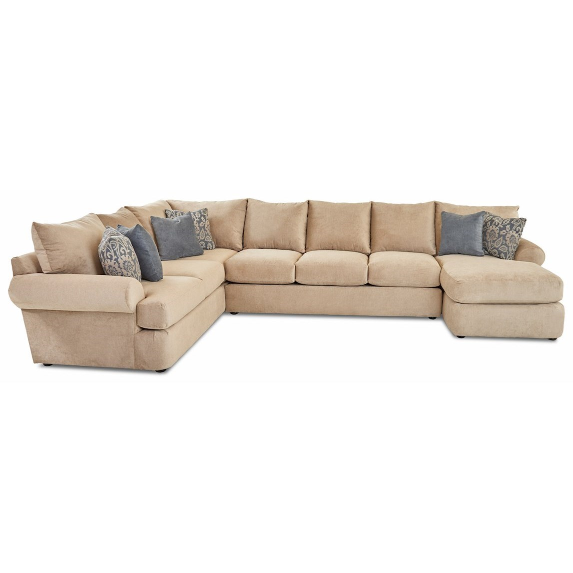 Cora 3-Piece Sectional Sofa w/ RAF Chaise by Klaussner at Northeast Factory Direct