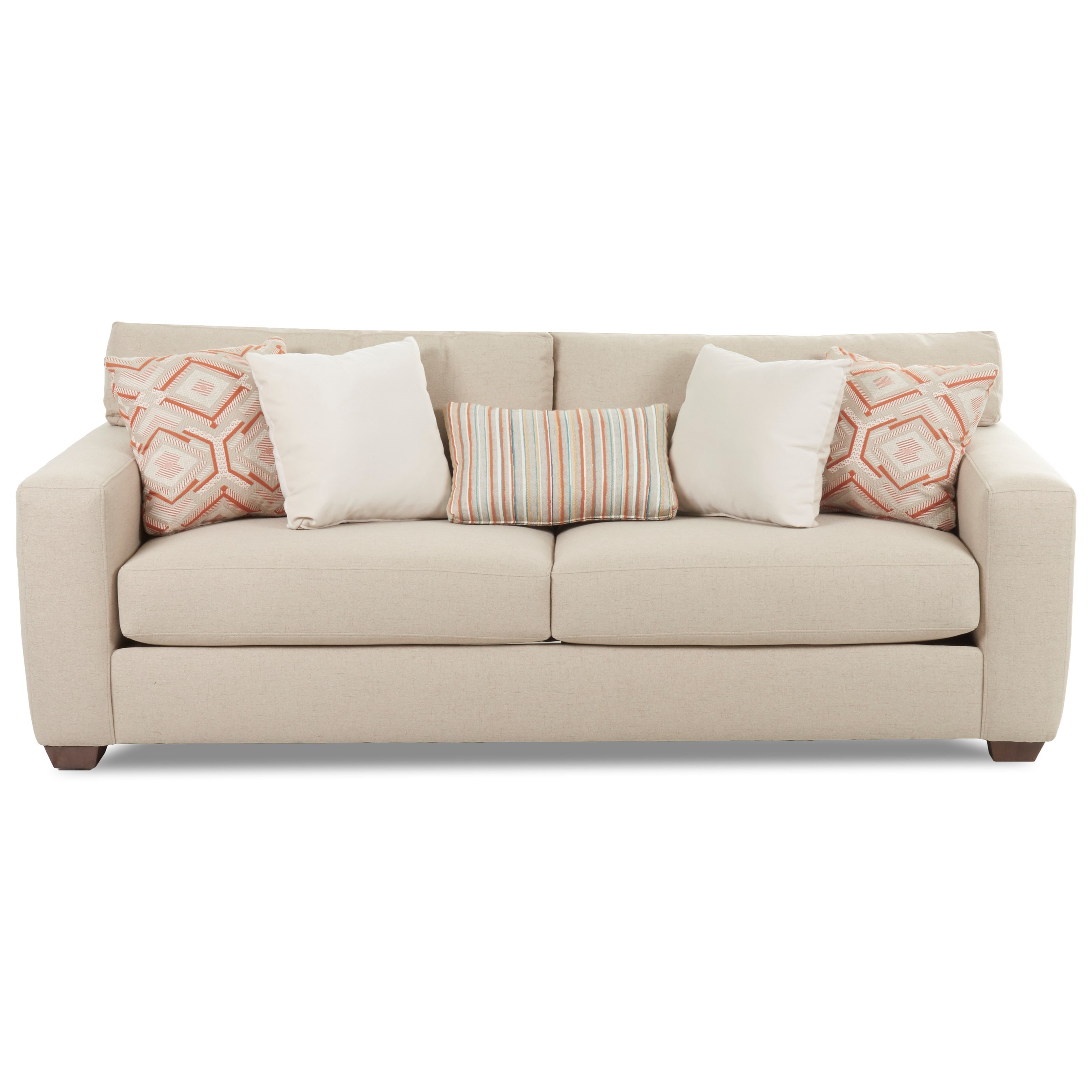 Klaussner Credo Sofa with Track Arms and Five Pillows Wayside