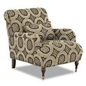 Klaussner Dapper Traditional Accent Chair with English Arms and Turned Legs with Casters