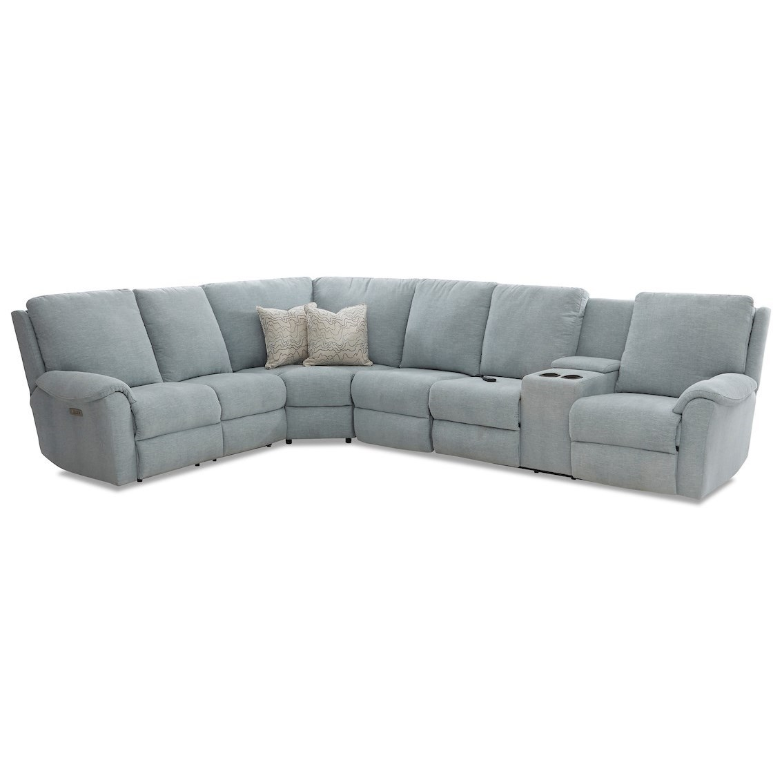 Davos Pwr Recline Sectional w/RAF Cnsl/Headrest/Lu by Klaussner at Johnny Janosik