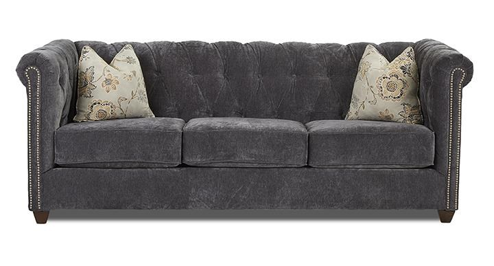 Metropia Dani Chesterfield Sofa With Nailhead Trim Ruby Gordon Furniture Mattresses Sofas