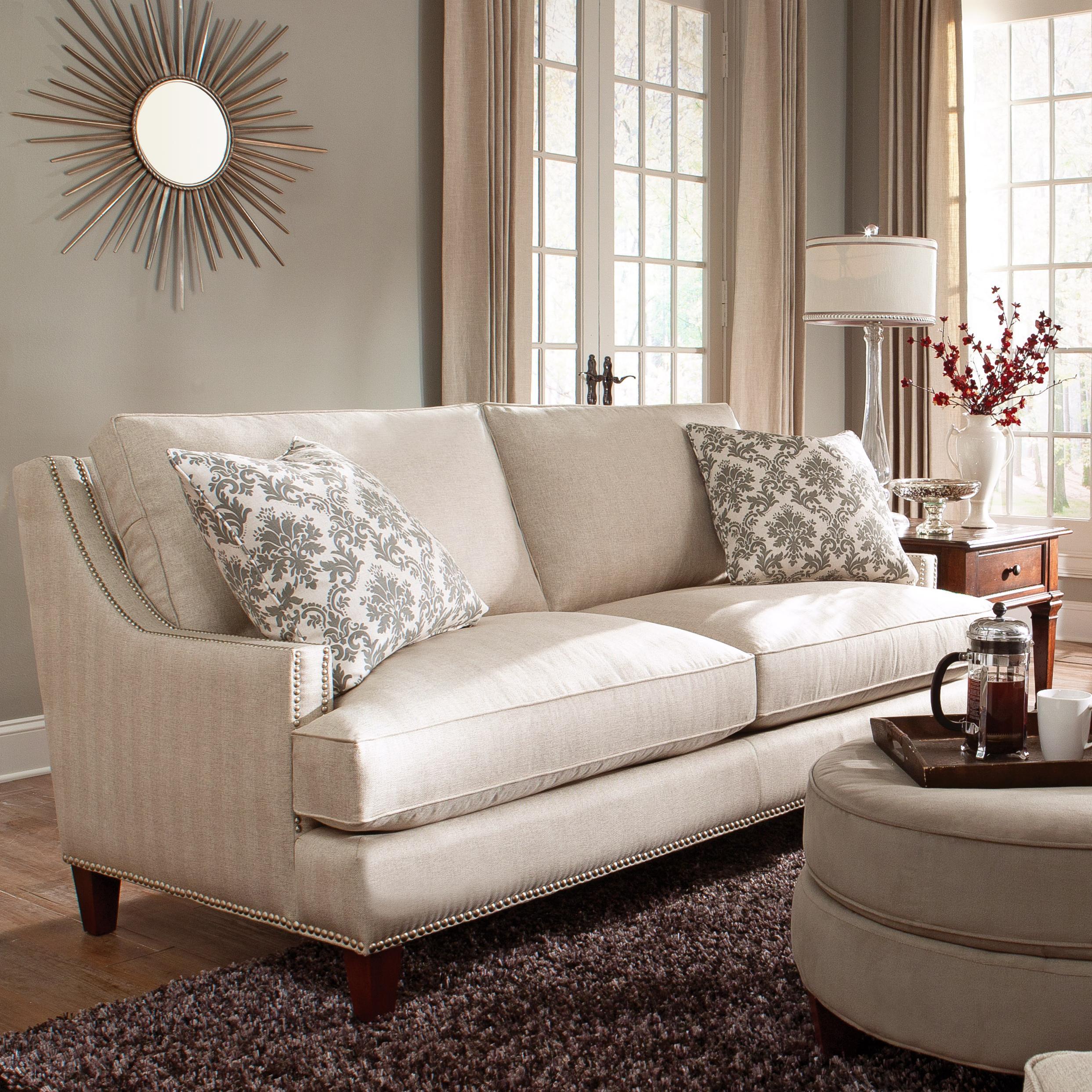 Klaussner duchess transitional nail head wing back sofa for Klaus k living room brunssi