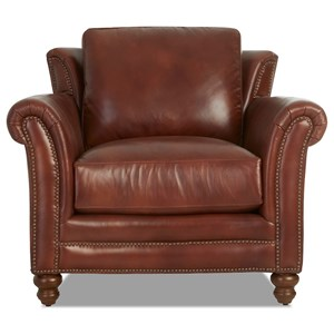 Traditional Leather Wing Back Chair with Nailhead Trim