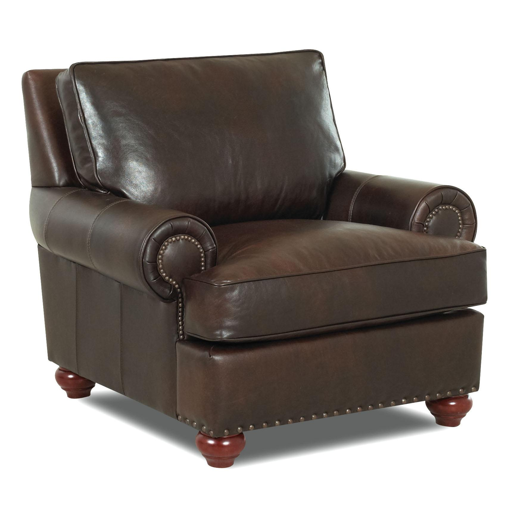 Klaussner Ellington Ld22610 C Nail Head Trim Leather Chair Dunk Bright Furniture