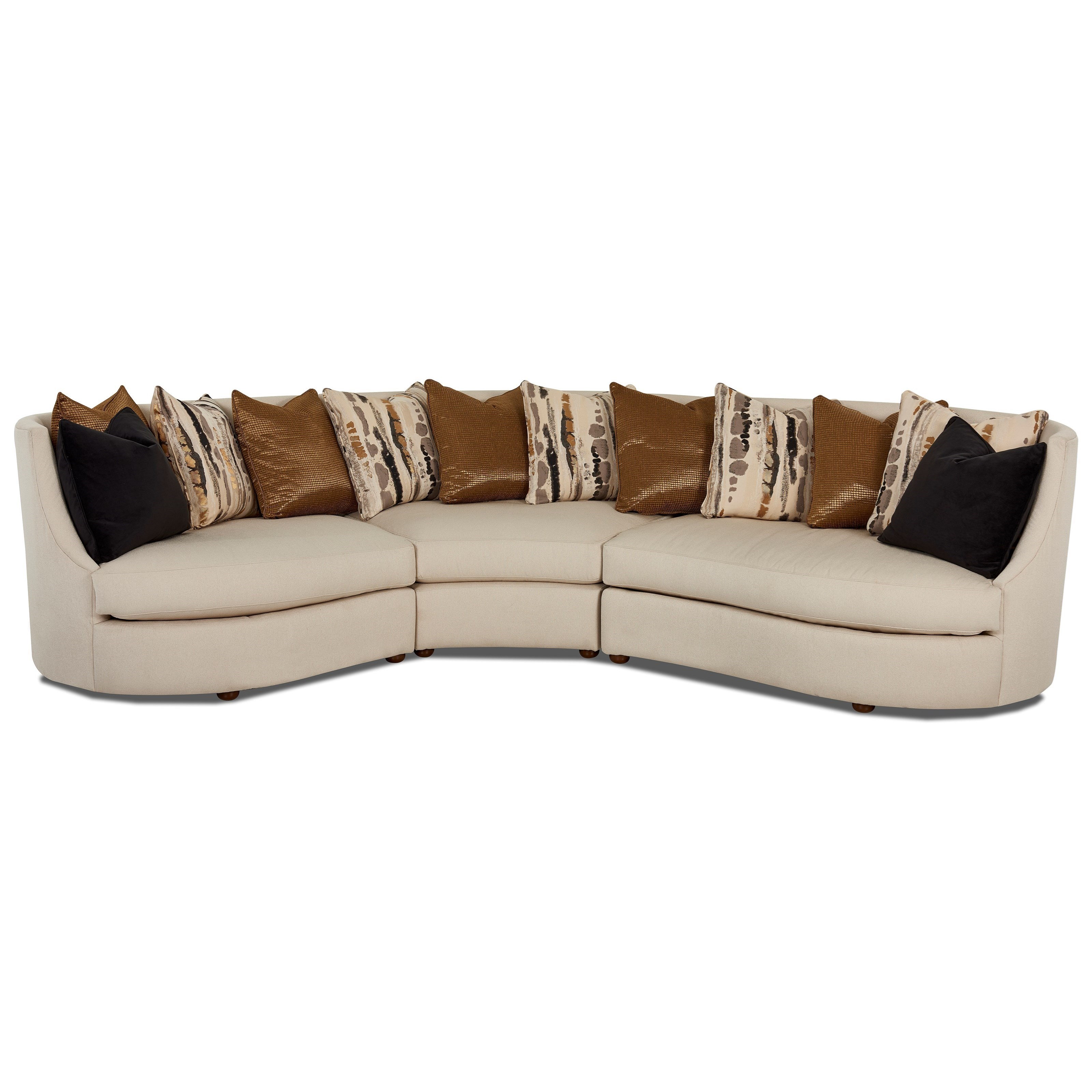 Klaussner Euclid Three Piece Curved Conversation Sectional with