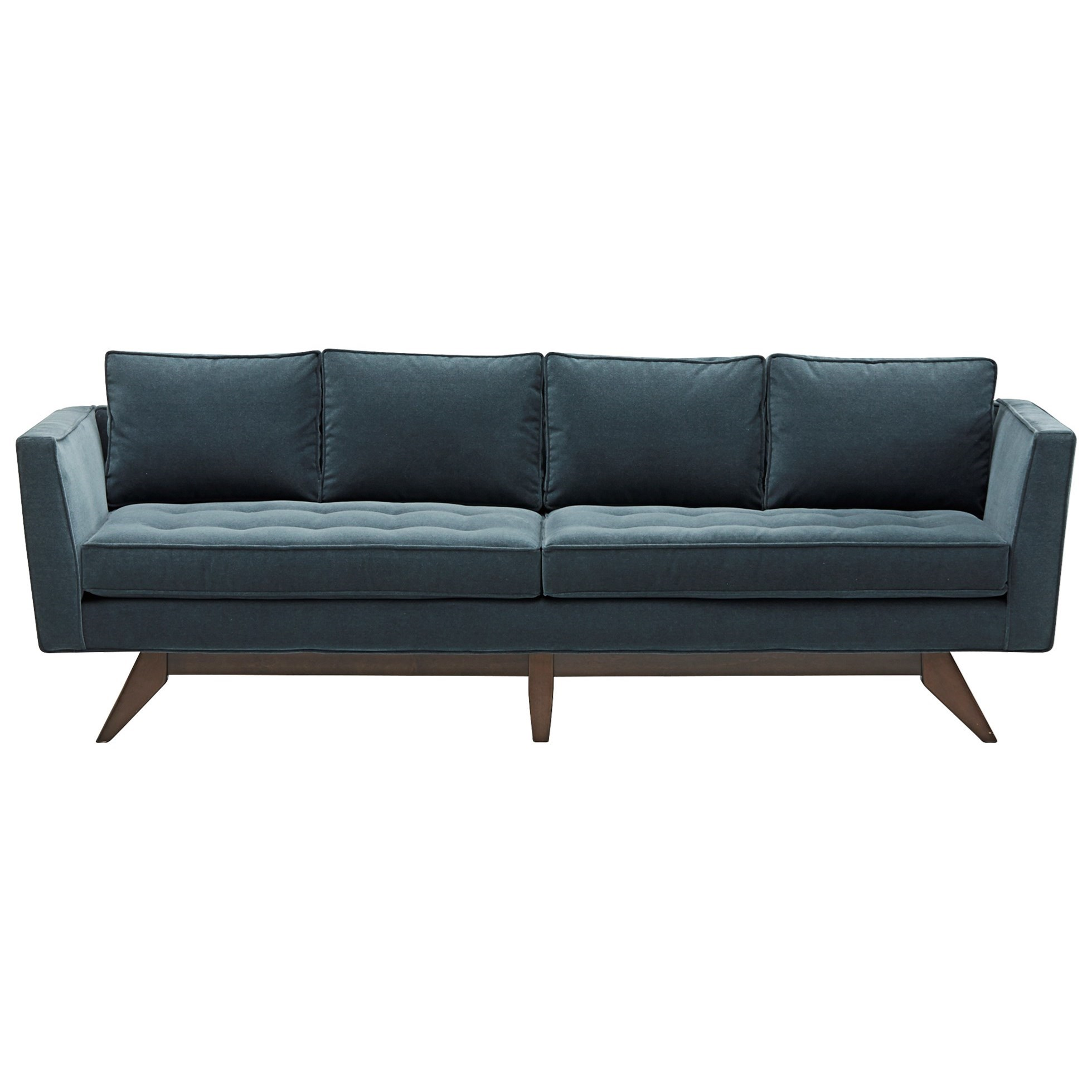 Klaussner fairfax mid century modern style sofa with angled wood legs