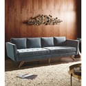 Klaussner Fairfax Mid-Century Modern Style Sofa with Angled Wood Legs