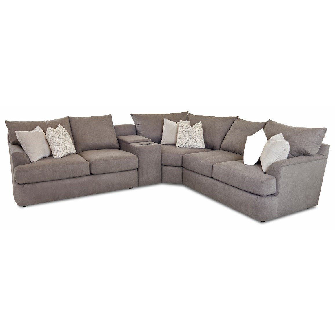 Findley 4-Pc Sectional Sofa with Cupholder Console by Klaussner at Johnny Janosik