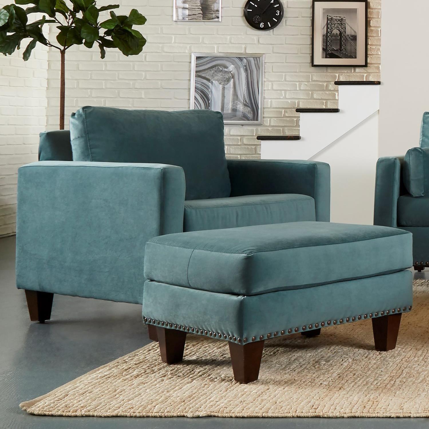 Chair & Ottoman with Nailhead Trim