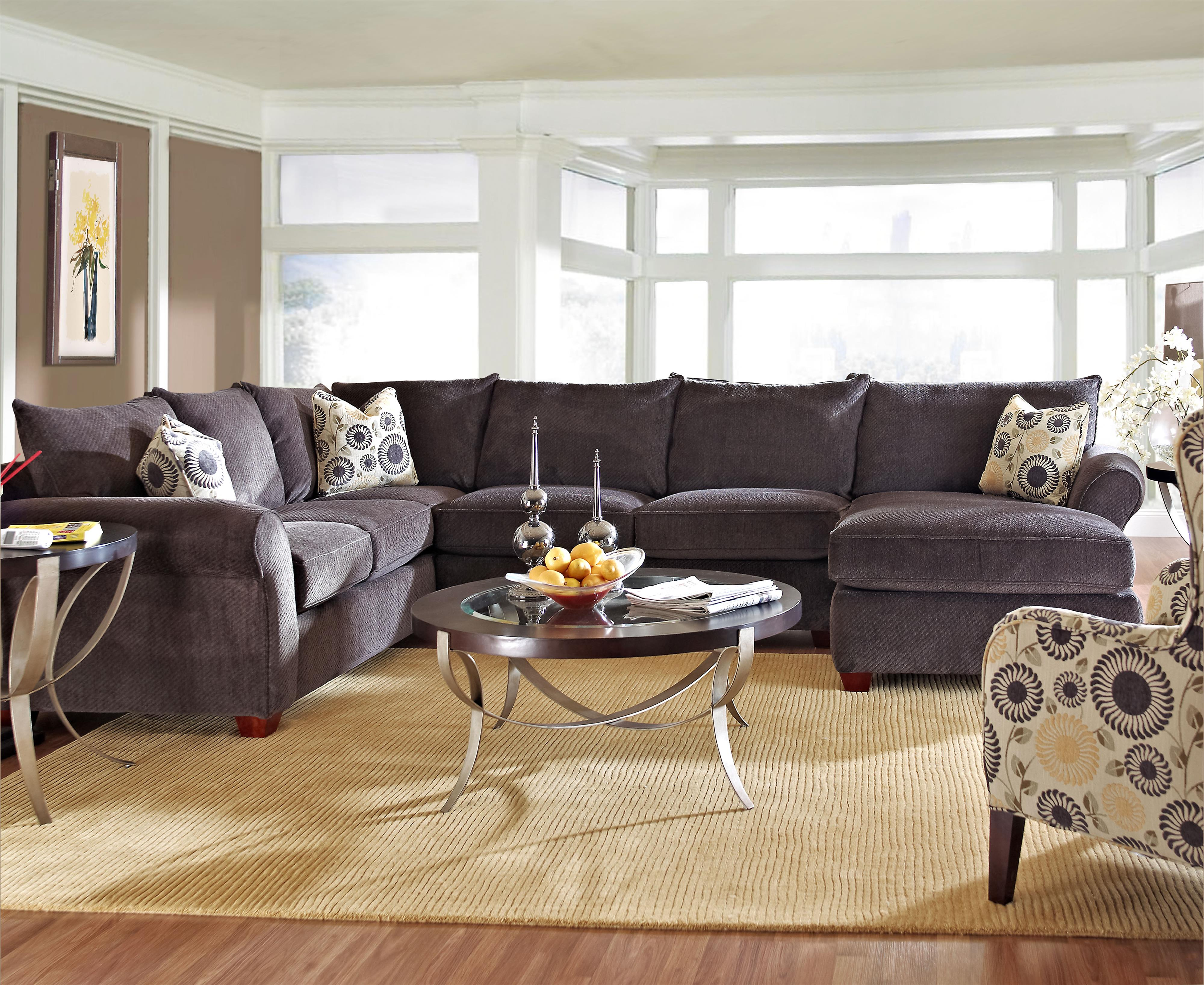 Klaussner Fletcher Sectional Sofa - Item Number: 36300LCRNS+ALS+RCHASE-PoisePewter