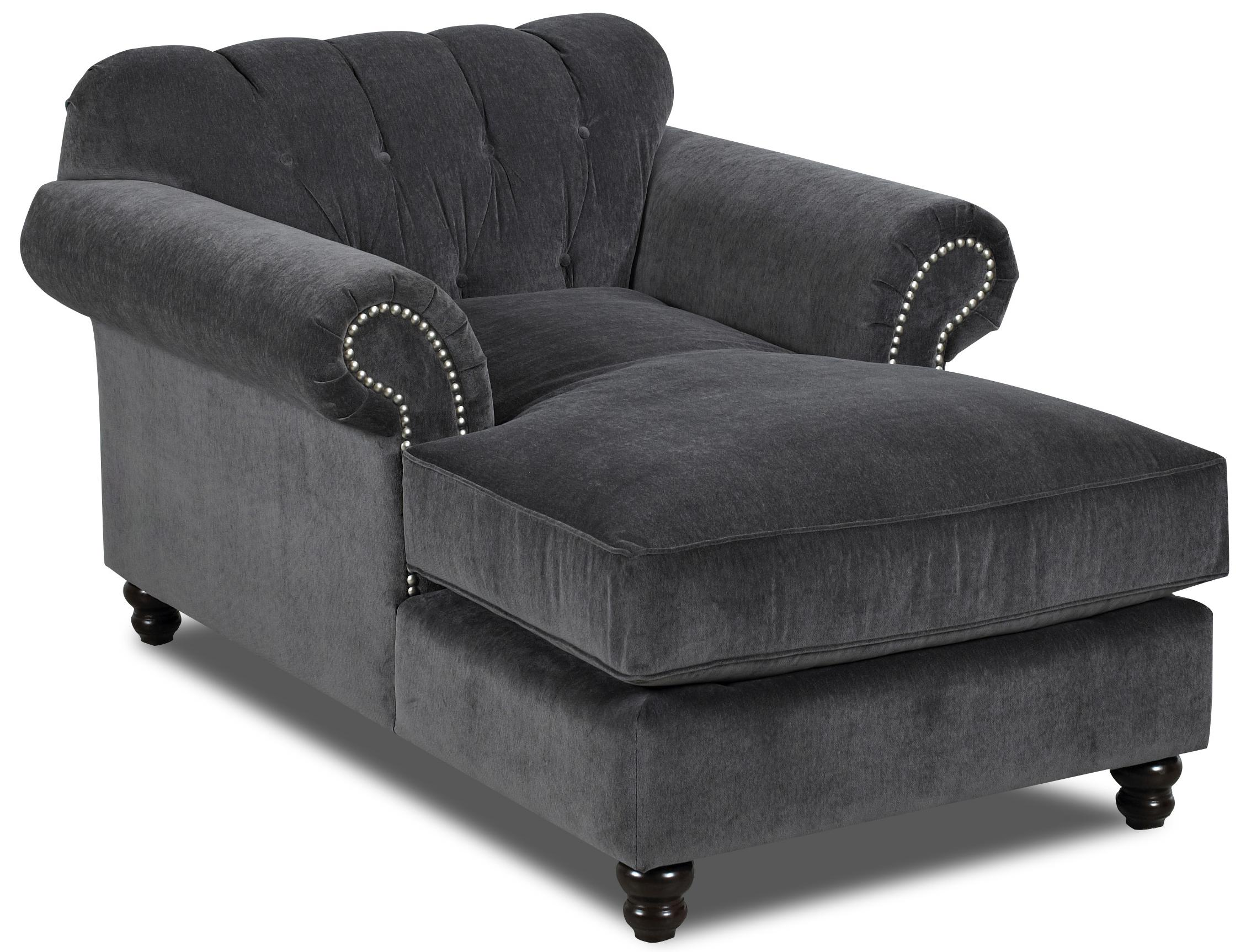 Klaussner flynn traditional chaise with button tufted back for Button tufted chaise settee green