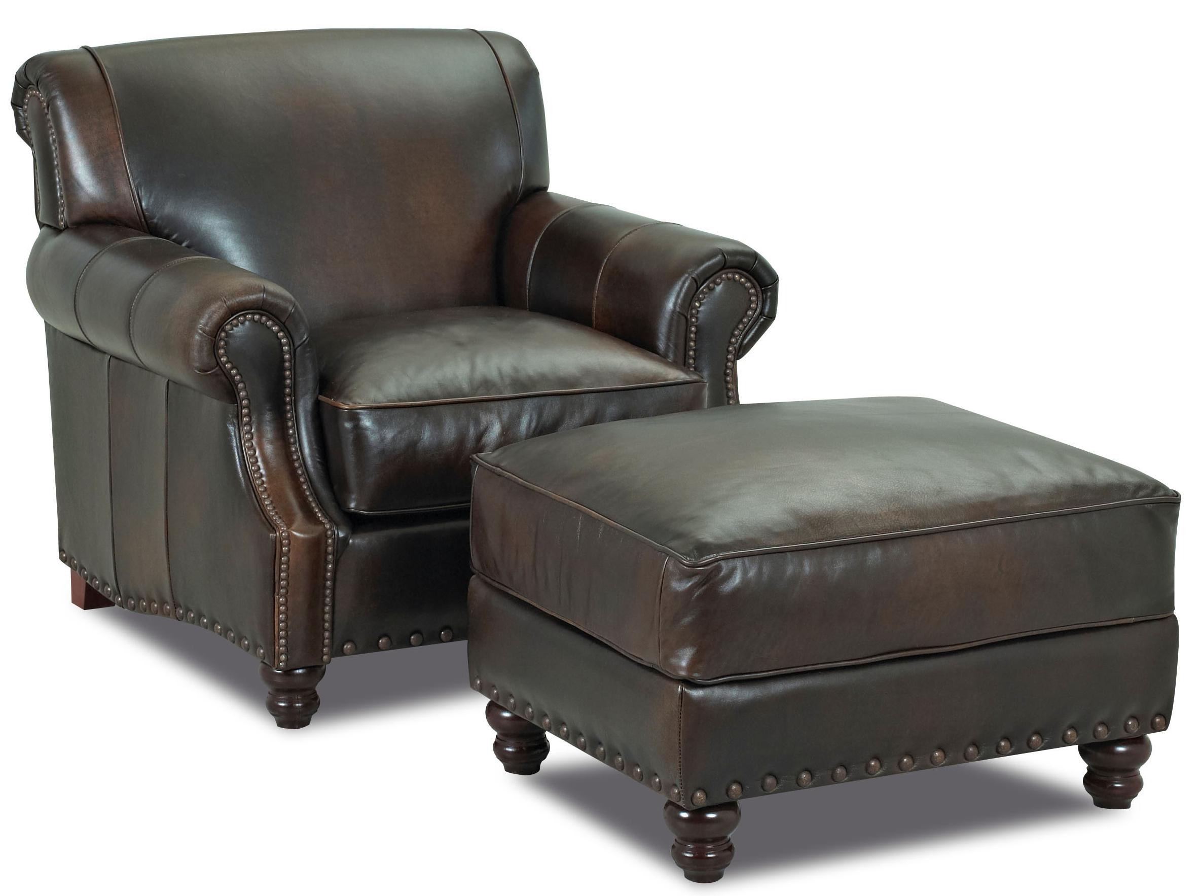 Klaussner Fremont Traditional Leather Ottoman With Nail Head Trim Johnny Janosik Ottomans