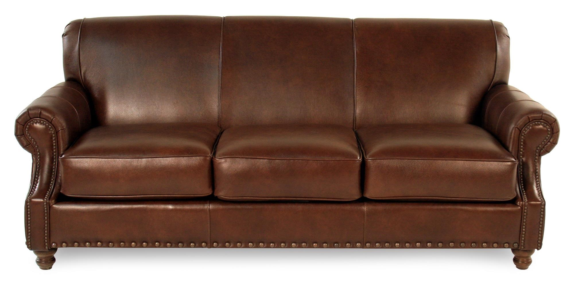 Genial Simple Elegance Abilene Traditional Leather Sofa   Item Number:  LT30410S CHESTNUT