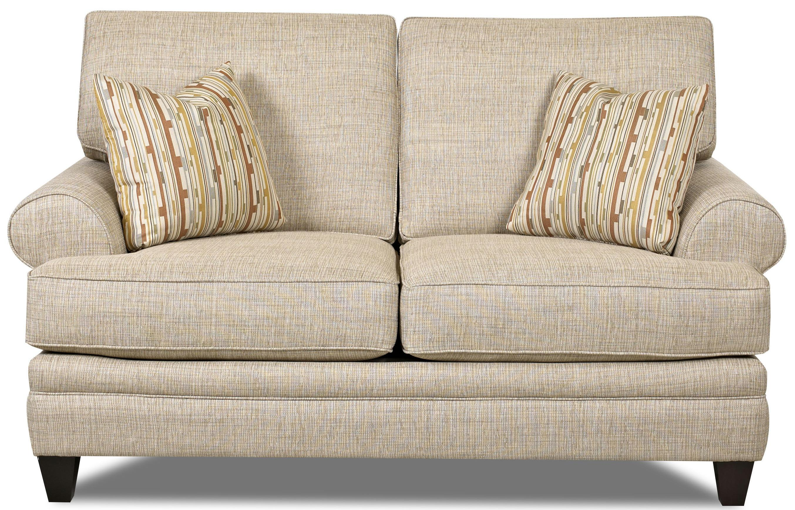 Klaussner Fresno Transitional Loveseat With Low Profile Rolled Arms Value City Furniture