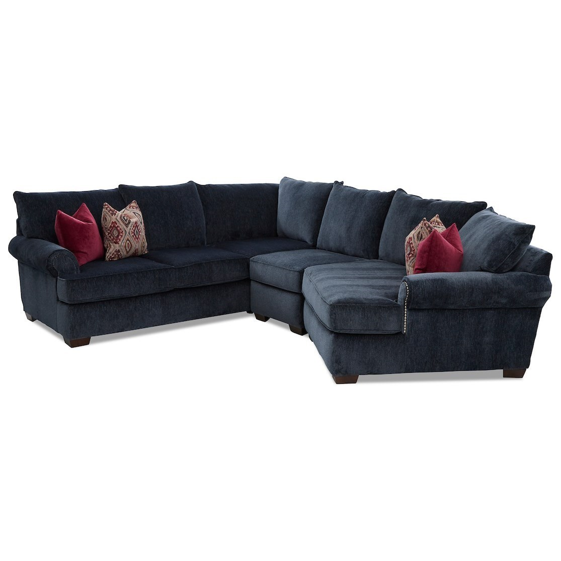 Ginger 4-Seat Sectional Sofa w/ RAF Cuddler Chair by Klaussner at Johnny Janosik