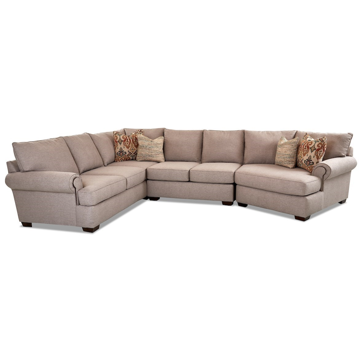Ginger 5-Seat Sectional Sofa w/ RAF Cuddler Chair by Klaussner at Johnny Janosik