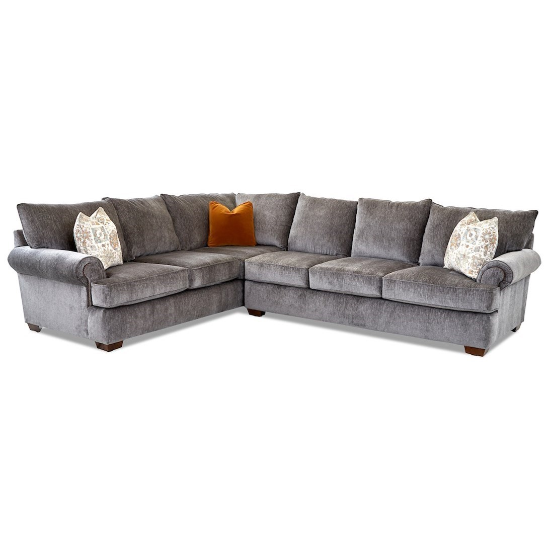Ginger 5-Seat Sectional Sofa w/ RAF Sofa by Klaussner at Johnny Janosik