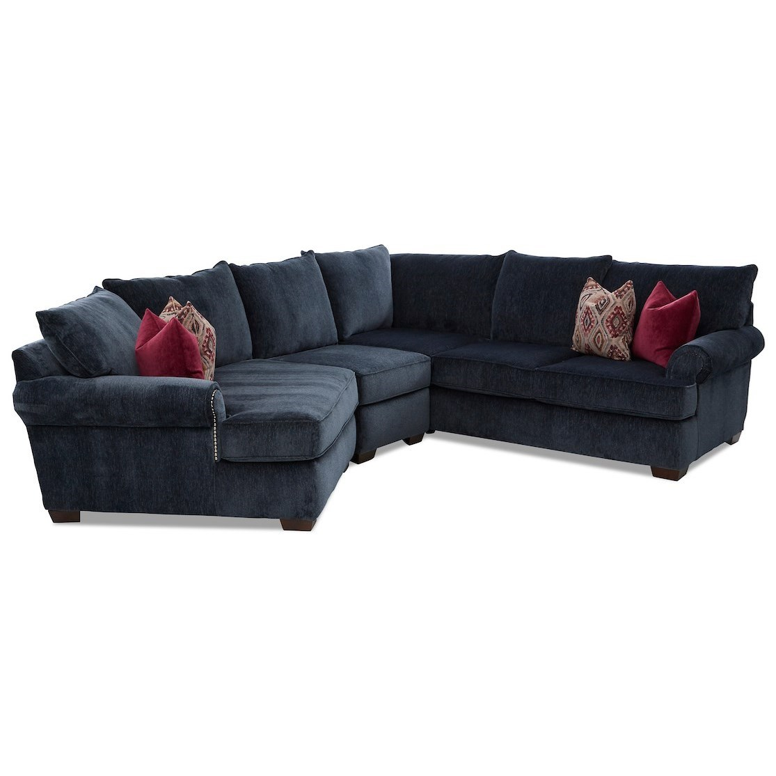 Ginger 4-Seat Sectional Sofa w/ LAF Cuddler Chair by Klaussner at Northeast Factory Direct