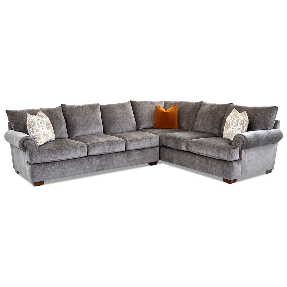 Ginger 5-Seat Sectional Sofa w/ LAF Sofa by Klaussner at Northeast Factory Direct