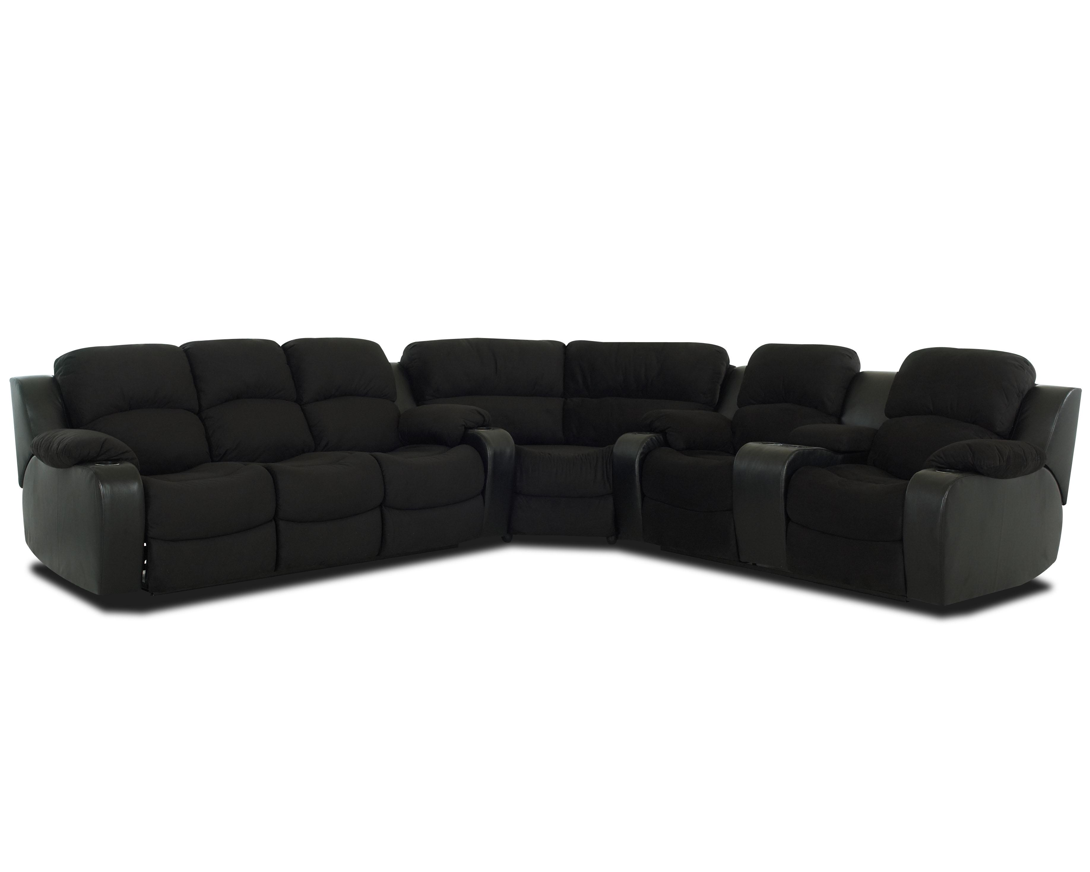 Klaussner Grand Reclining Sectional Sofa With Console   AHFA   Reclining Sectional  Sofa Dealer Locator