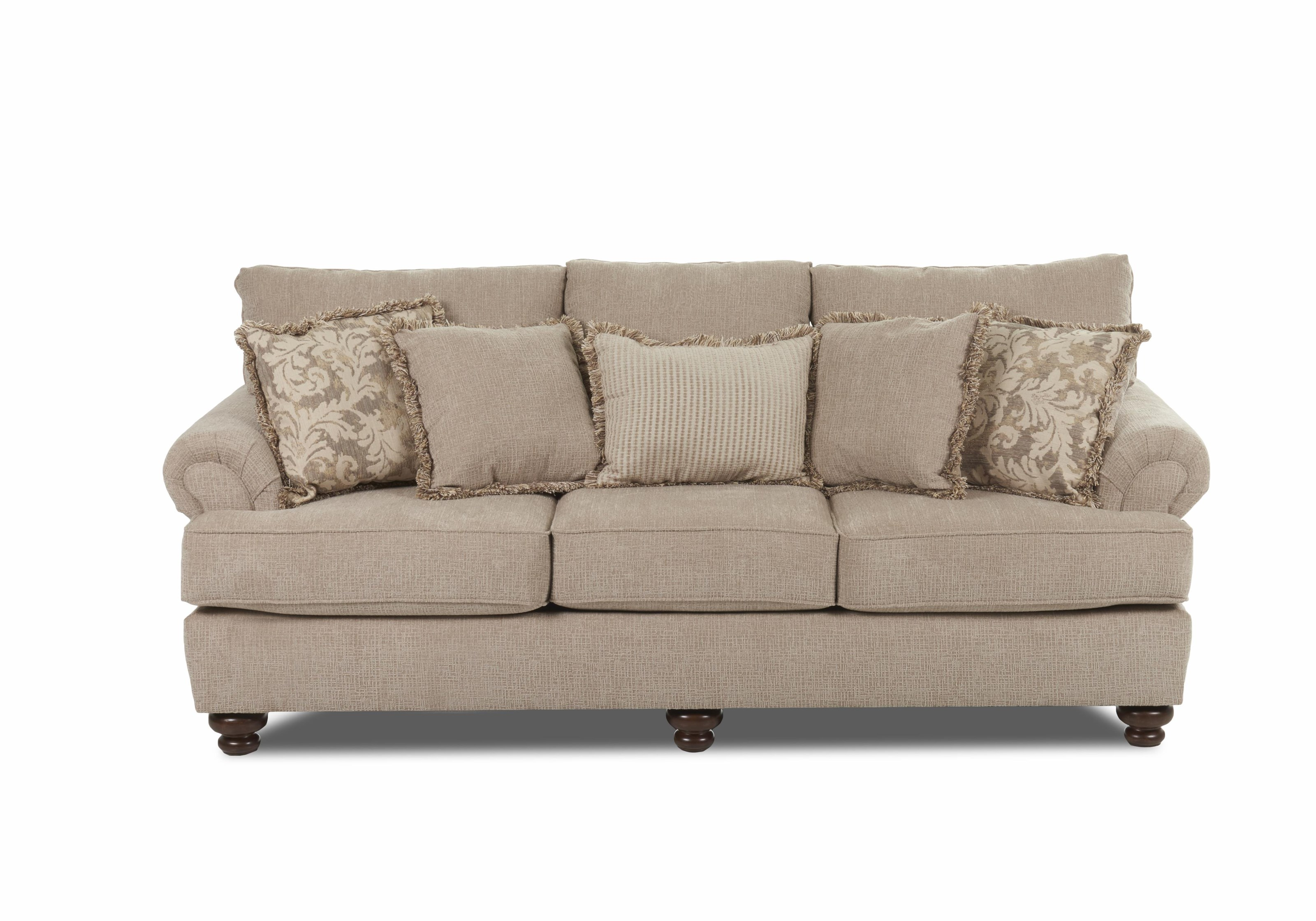 Klaussner Greenvale Traditional Stationary Sofa   Item Number: OK73500FS  Crisscross Putty