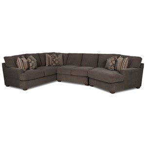 Klaussner Haynes 3 Pc Sectional Sofa w/ RAF Cuddler