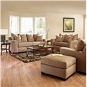 Klaussner Heather Upholstered Ottoman - Shown with Sofa, Loveseat & Chair