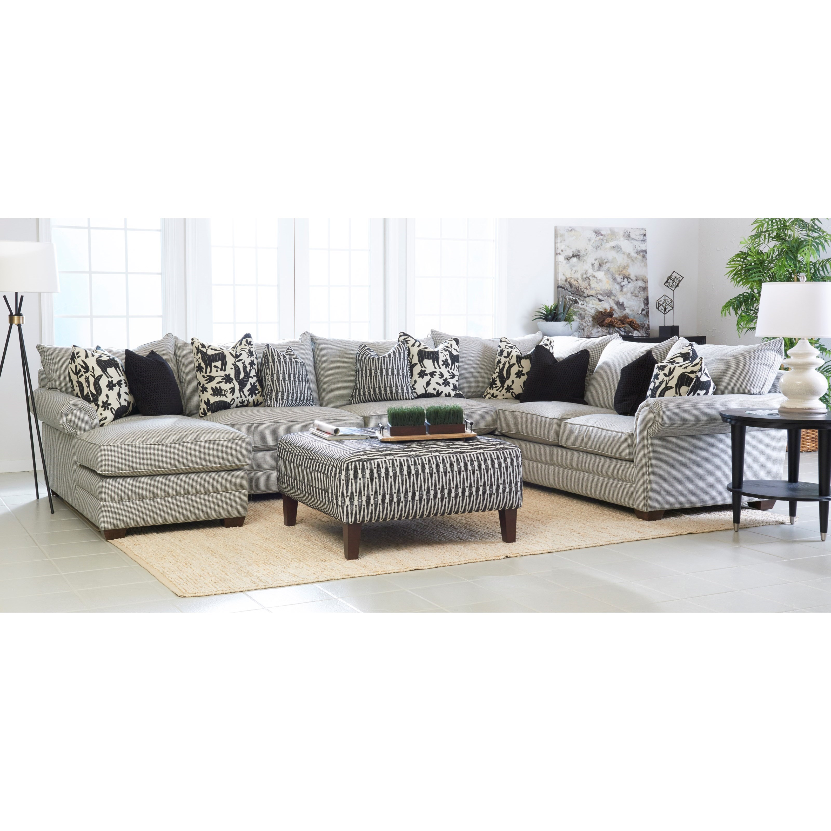 Klaussner Huntley Four Piece Sectional Sofa with LAF ...