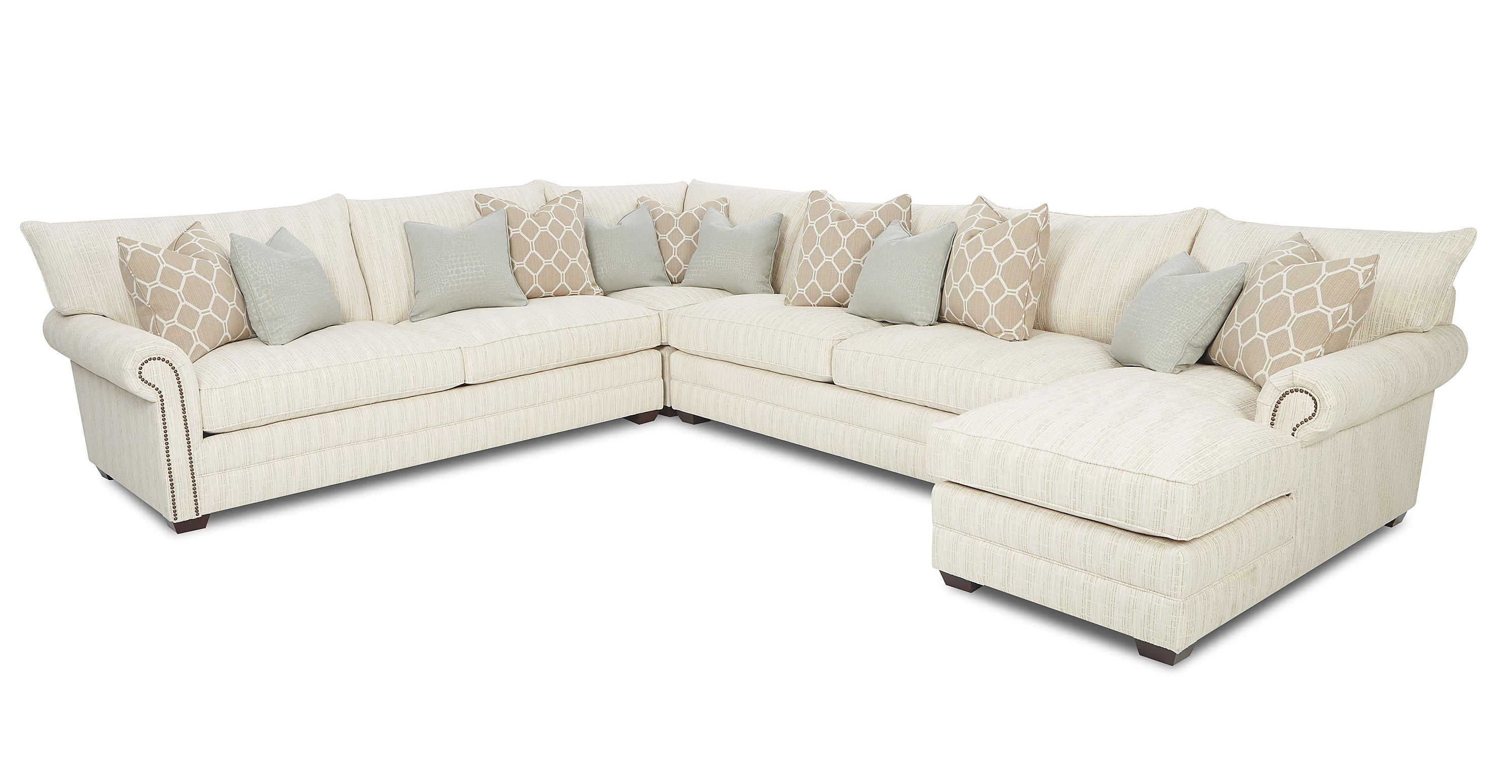 Klaussner Huntley Traditional Sectional Sofa With Nailhead