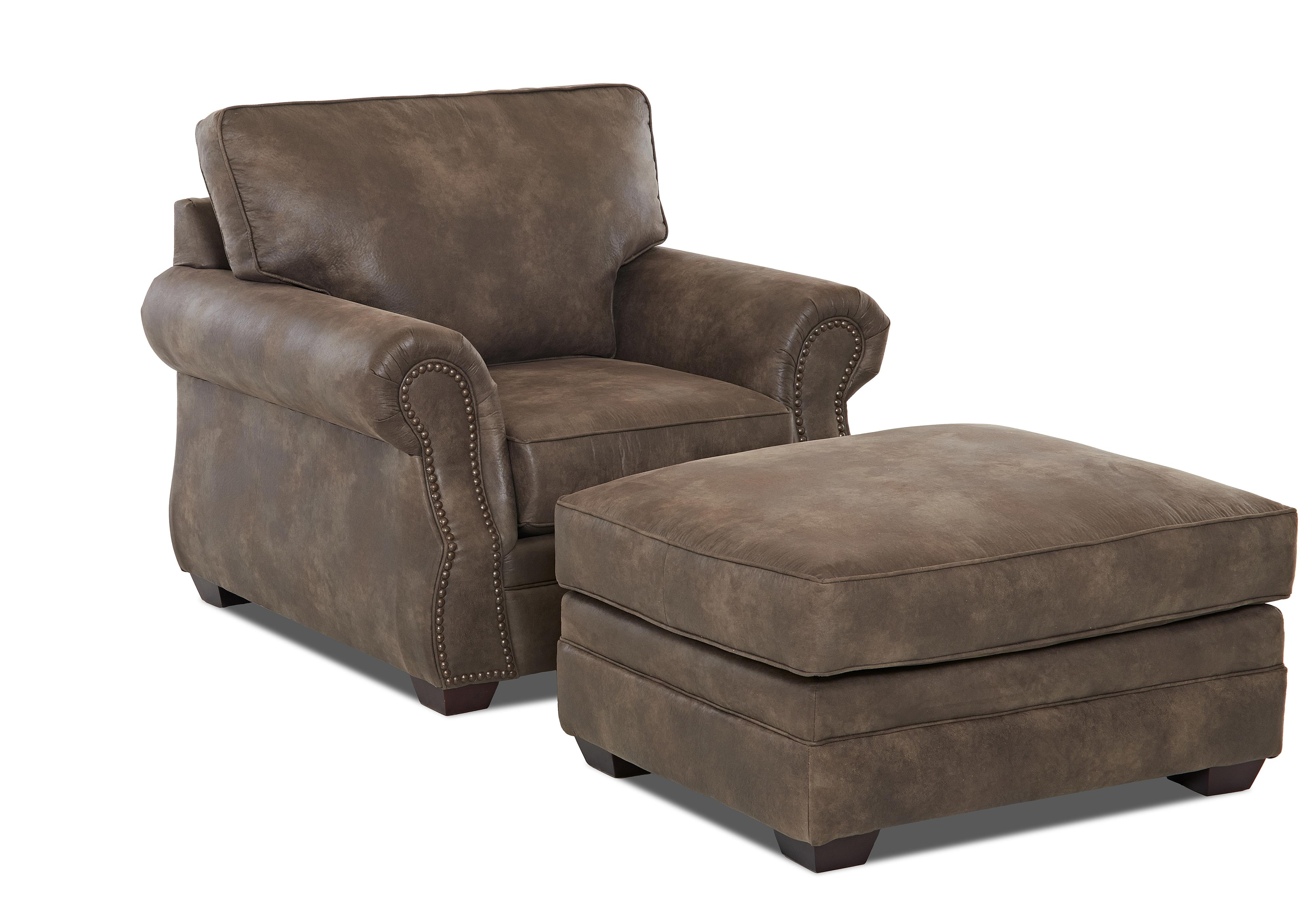 Klaussner Jasper Chair and Ottoman Set - Item Number: K12310 C+OTTO-PadreTaupe