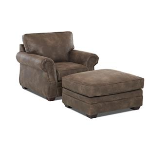 Klaussner Jasper Chair and Ottoman Set