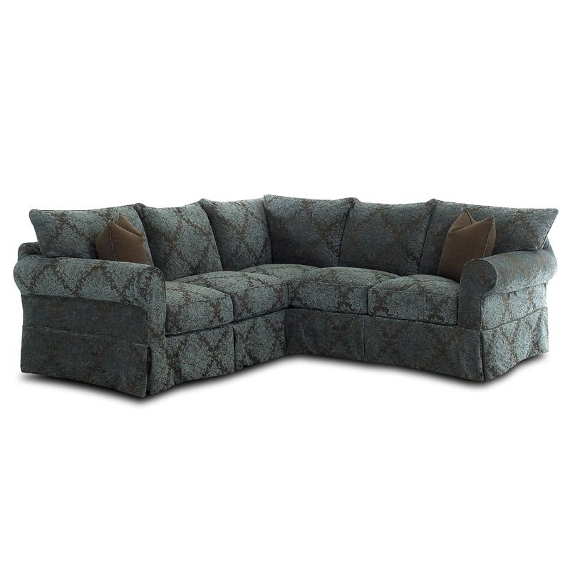 Klaussner Jenny Slipcover Sectional With Rolled Arms And Skirt   AHFA   Sofa  Sectional Dealer Locator