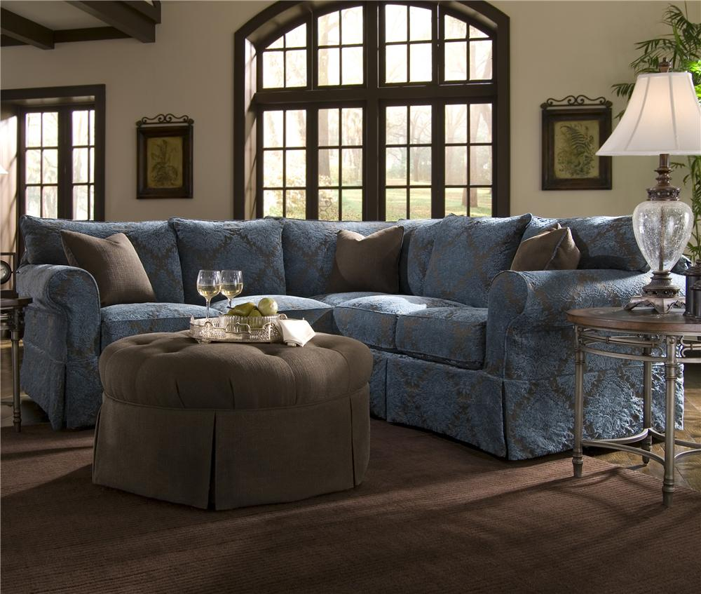 Klaussner Jenny Slipcover Sectional With Rolled Arms And