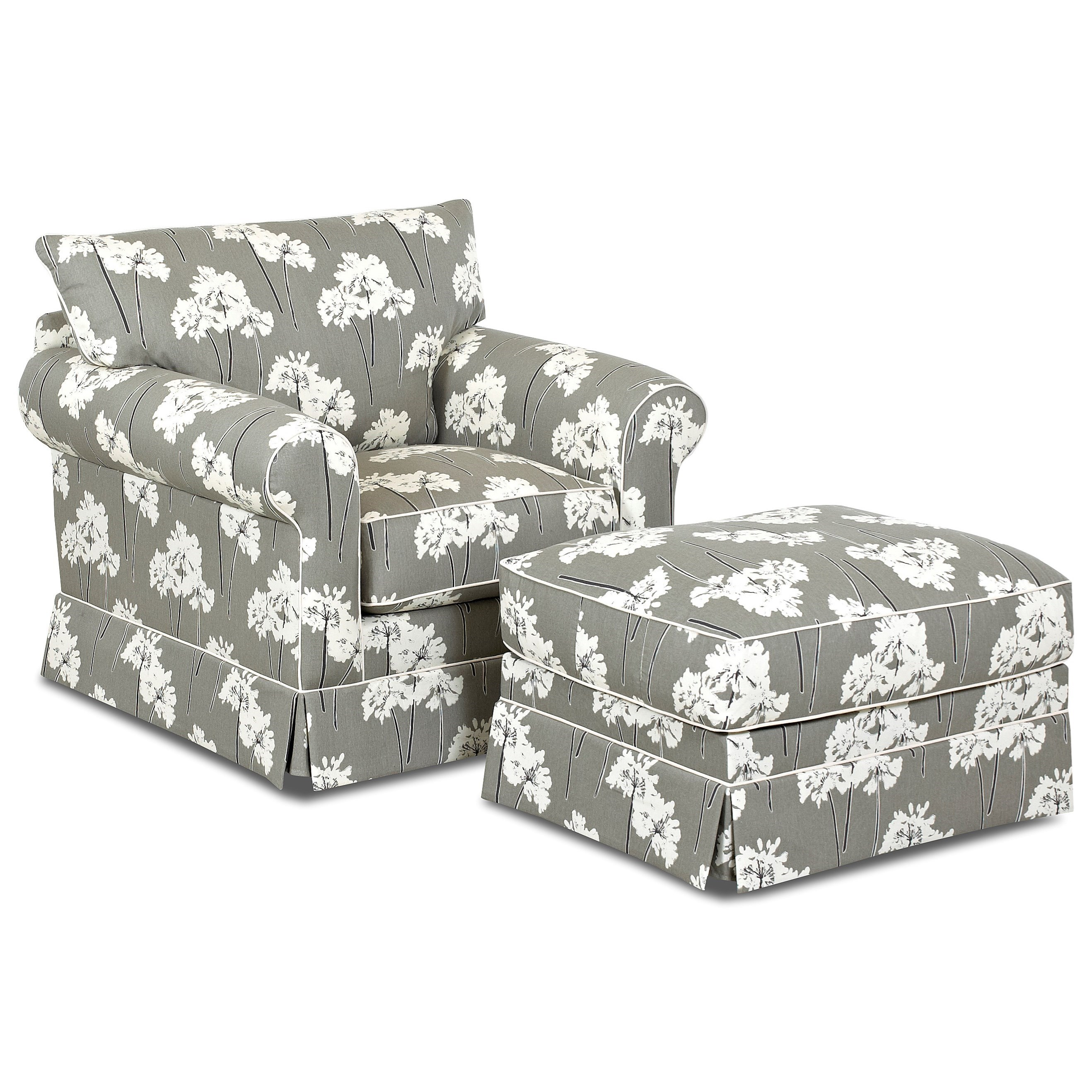 Klaussner Jenny Chair & Ottoman Set - Item Number: D16700 C+D16700 OTTO-Serina storm